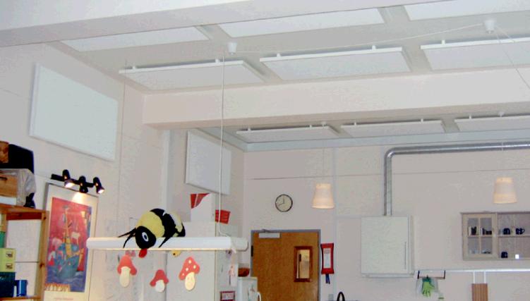 Dæmpit lydabsorbenter fra Romisolering As montert påvegg og i taket