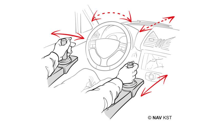 Illustrasjon av en som kjører bil med to joysticker
