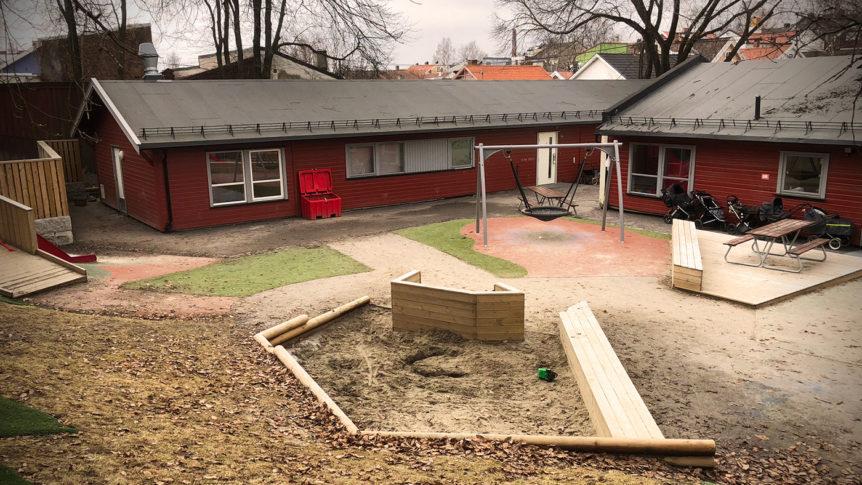 Uteområdet til Hammerfestgata barnehage