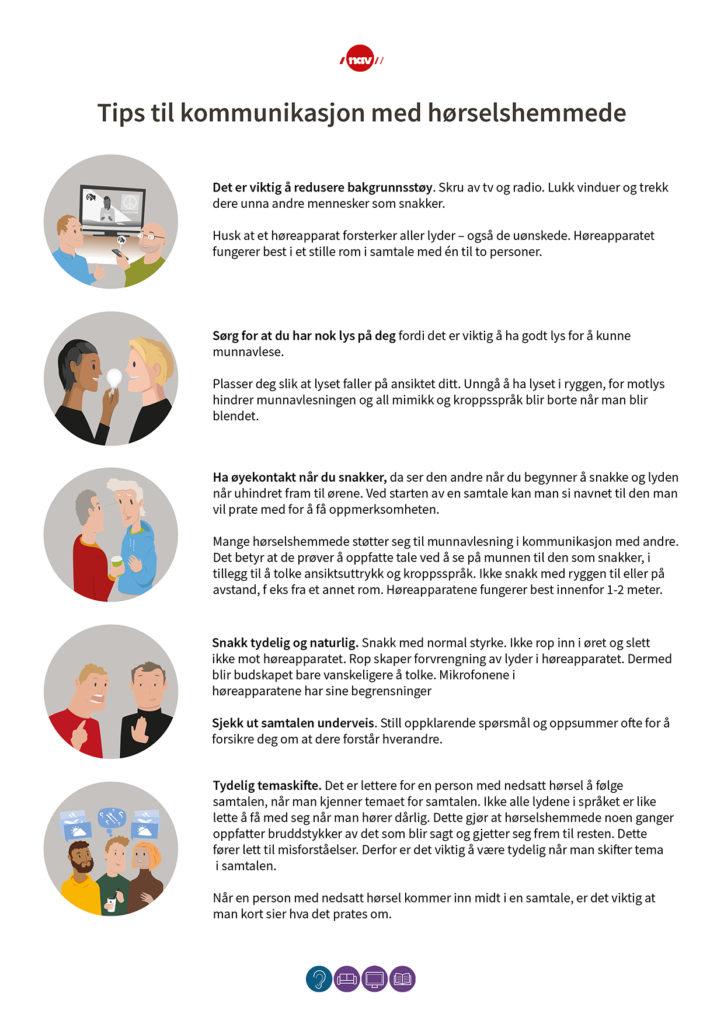Plakat: Tips til kommunikasjon med hørselshemmede