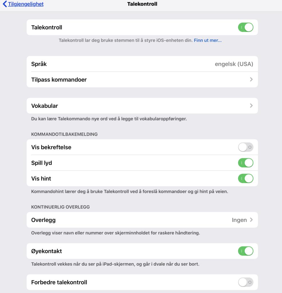 Skjermdump av innstillinger for talekontroll i iOS 13
