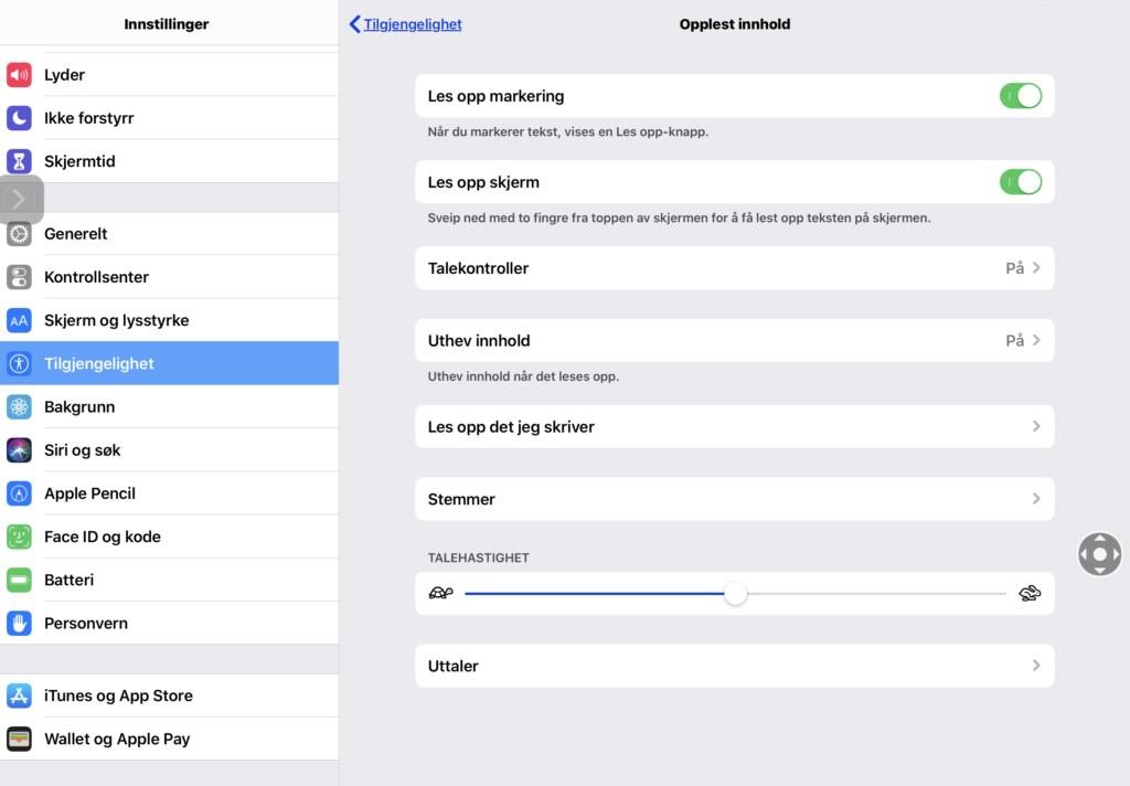 Skjermdump av innstillinger for tilgjengelighet i iOS 13