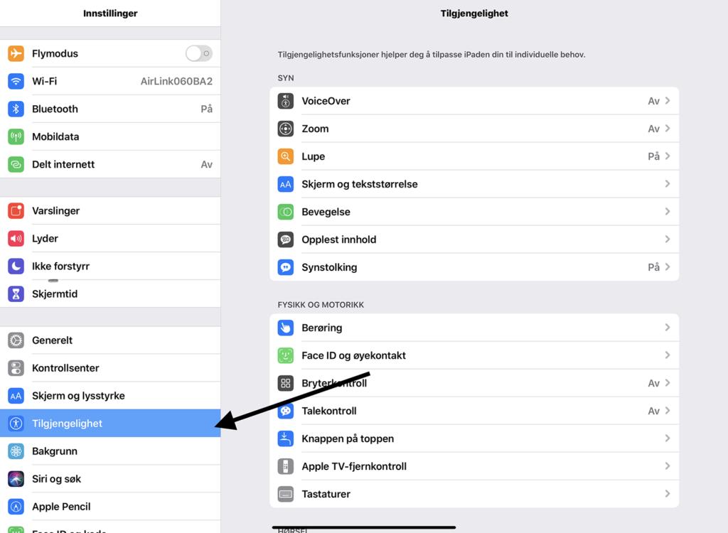 Innstillinger tilgjengelighet i iOS