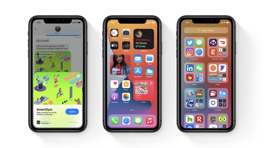 Tre forskjellige skjermbilder fra iOS 14