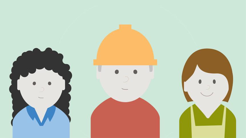 Illustrasjon av tre ulike personer som trenger tilrettelegging i arbeid