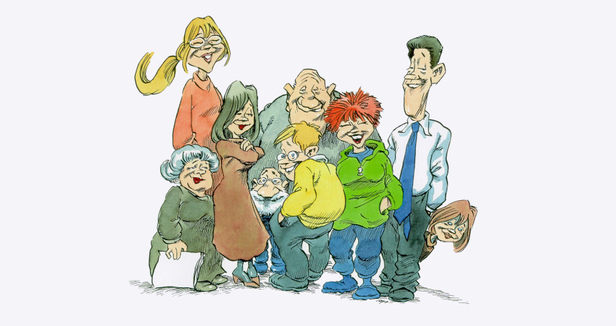 Illustrasjon: Tverrfaglig team med ulike personer (Illustratør: Rune J. Andersson)
