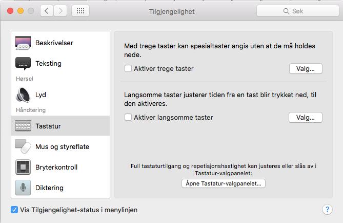 Tastaturvalg i Mac OSX