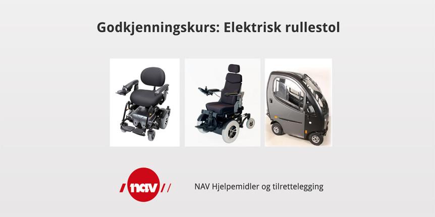 """Forsiden til e-læringsprogrammet """"Godkjenningskurs: Elektrisk rullestol"""""""