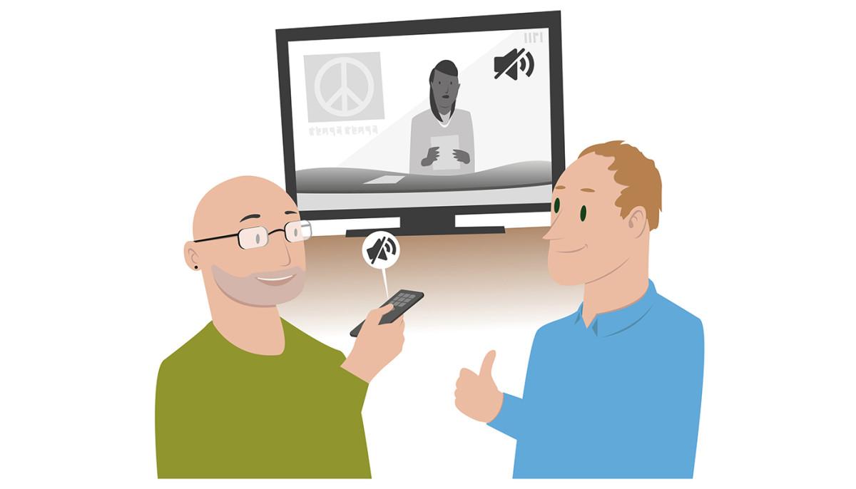 To menn som snakker sammen. Den ene slår av lyden på tv-en for å unngå bakgrunnsstøy. (Illustrasjon: Erik Joramo)