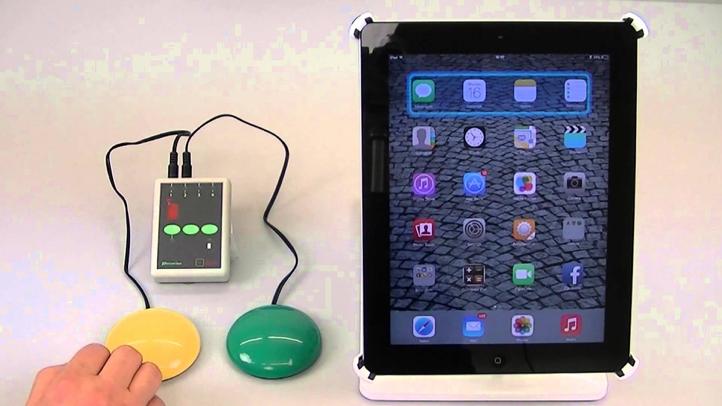 Betjening av iPad med to brytrere via en bryterboks