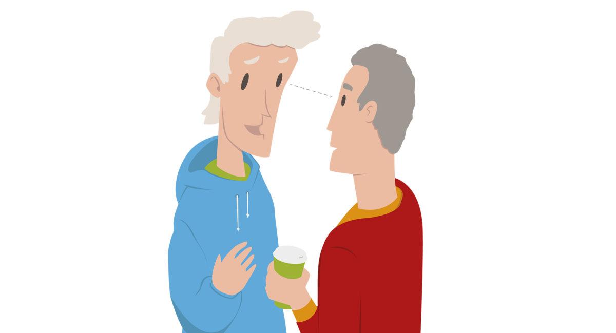 To menn som prater og har øyekontakt (Illustrasjon av Erik Joramo)