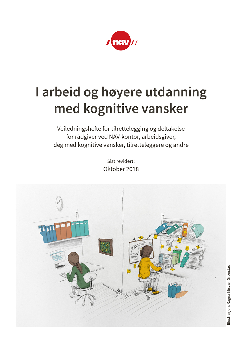 Forsiden til heftet I arbeid og høyere utdanning med kognitive vansker