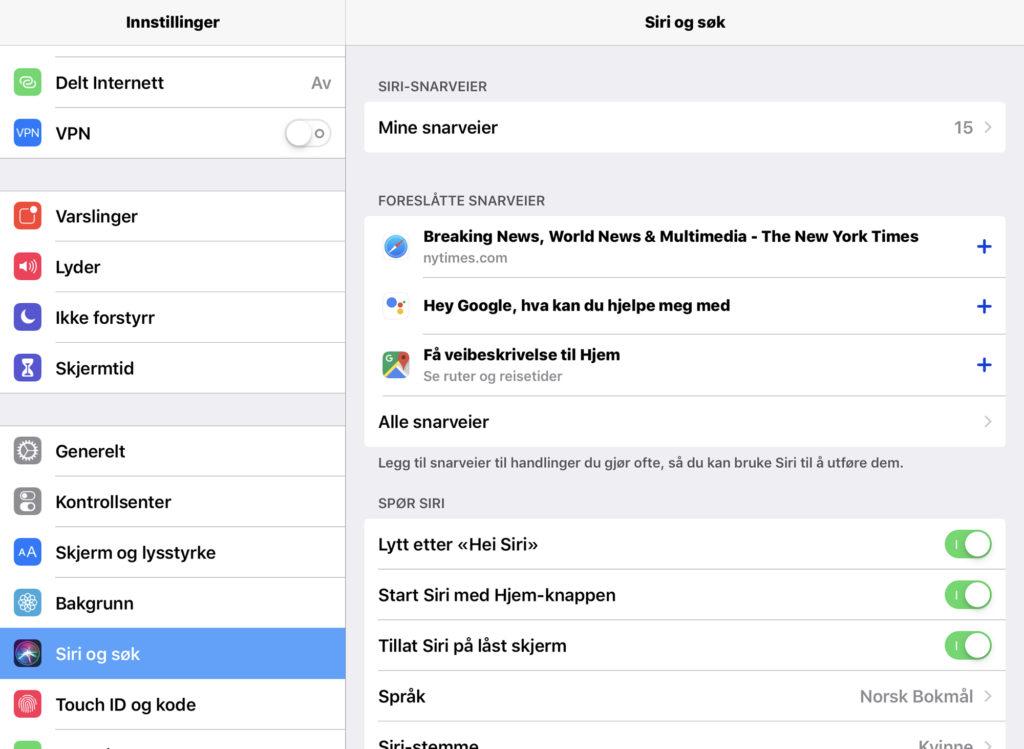 Skjermdump av Siri og søk