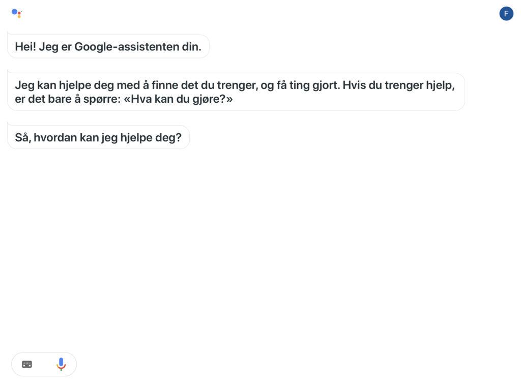 Skjermdump av startbildet til Google Assistent