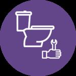 Illustrasjon: Toalett og skiftenøkkel