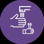Ikon: Vaske hender og skiftenøkkel