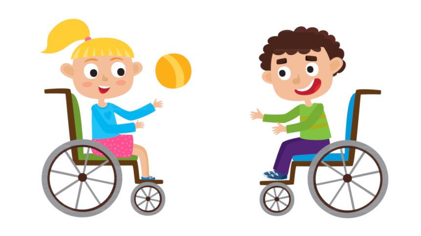 Illustrasjon av to smilende barn i hver sin rullestol som hiver en ball til hverandre (Copyright: colourbox.com)