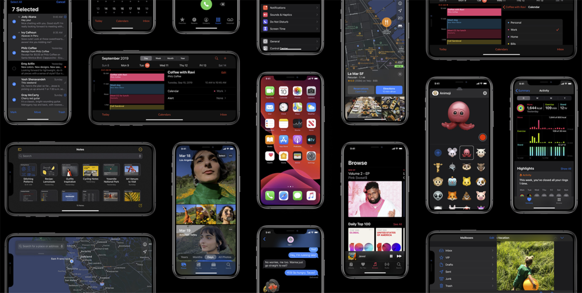 Diverse skjermdumper av iOS 13