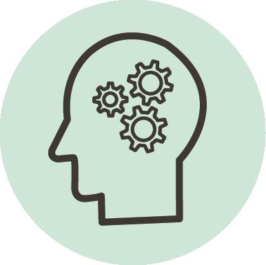 Ikon: hode med flere tannhjul for å illustrere tankeprosesser