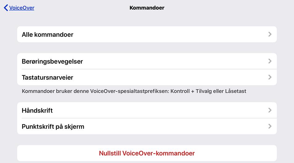 Skjermbilde av VoiceOver - Skriving