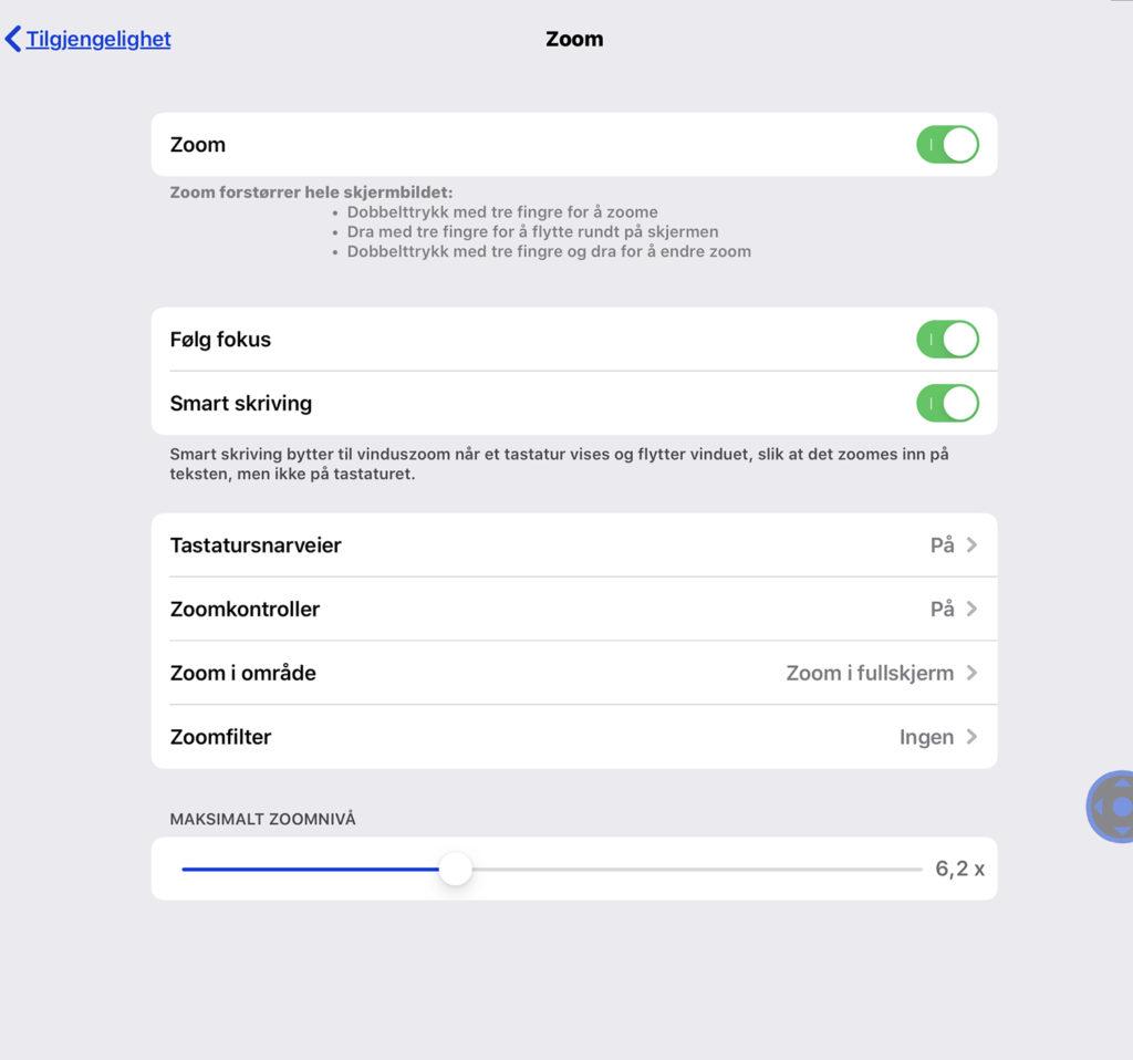 Zoom-meny i iOS