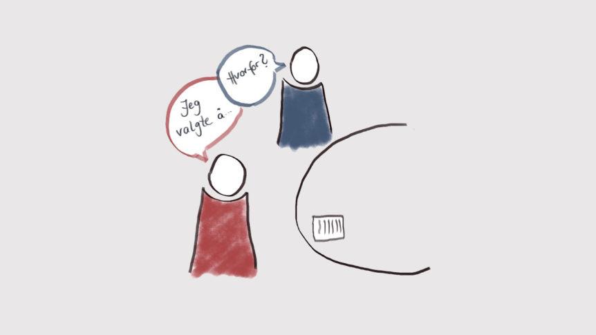 Illustrasjon - to mennesker som snakker sammen ved et bord