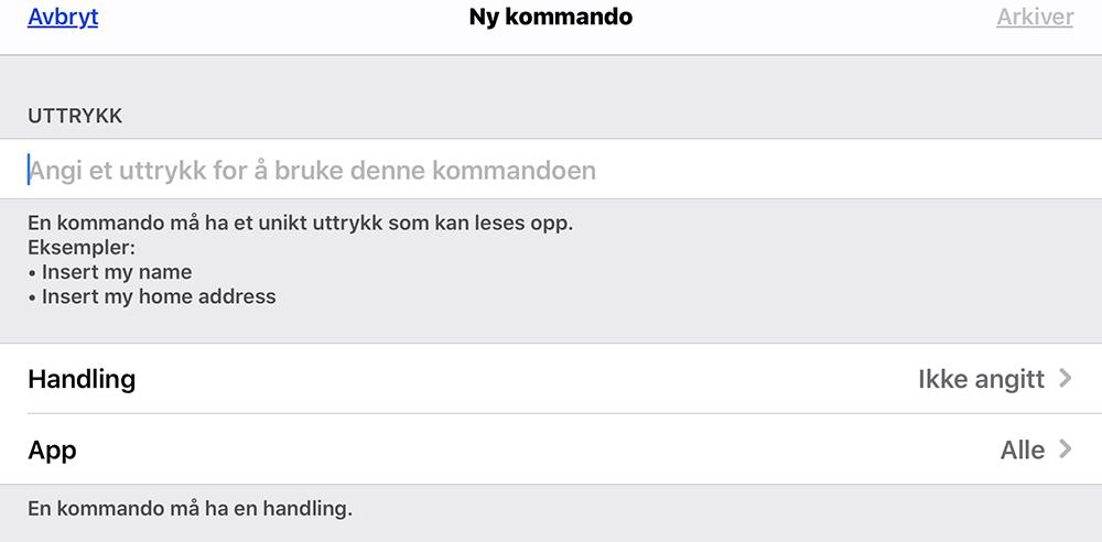 Menyen Ny kommando i iOS