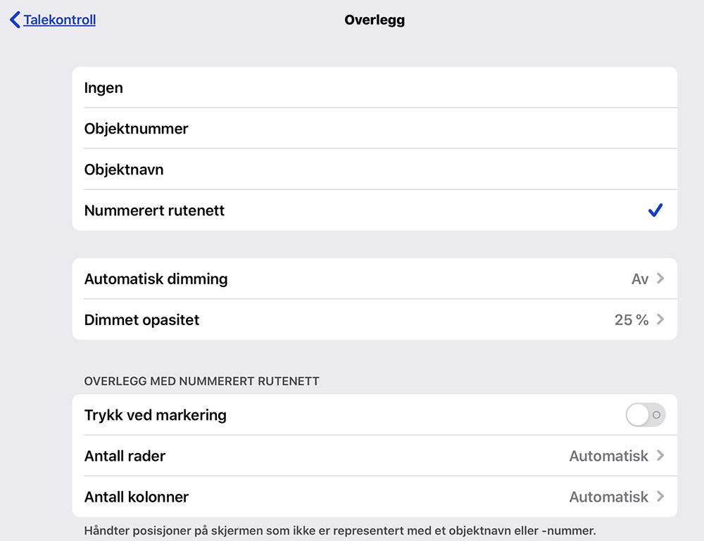 Menyen Overlegg i iOS