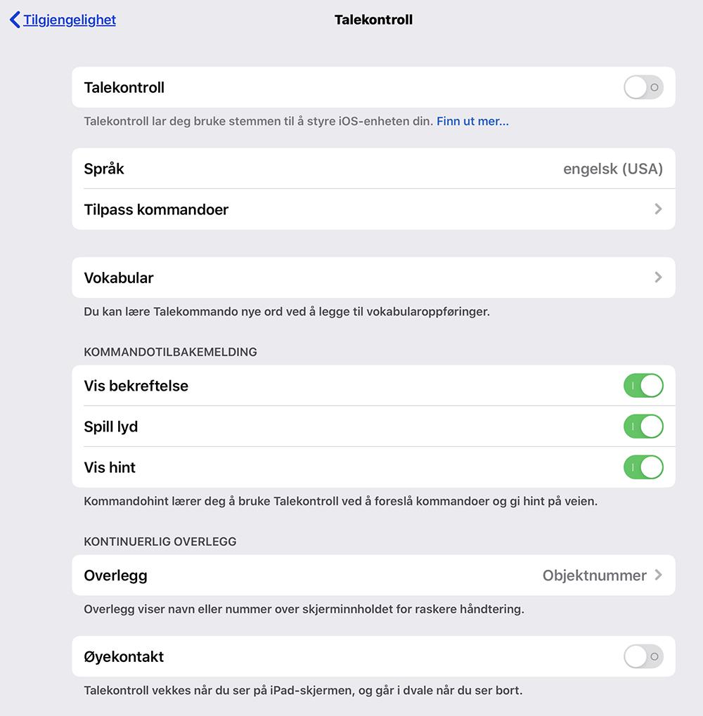 Menyen Talekontroll i iOS