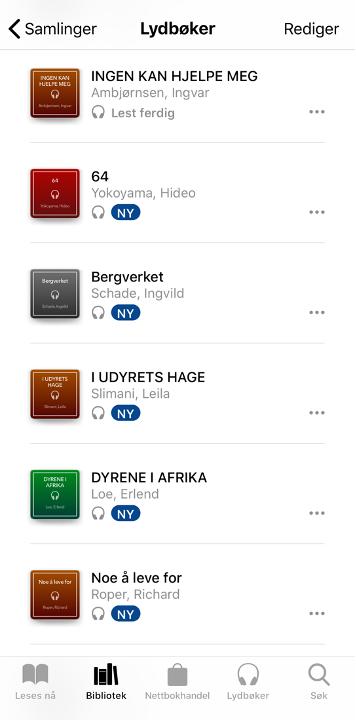 Skjermbilde av lydbokbiblioteket i appen Bøker på en iPhone