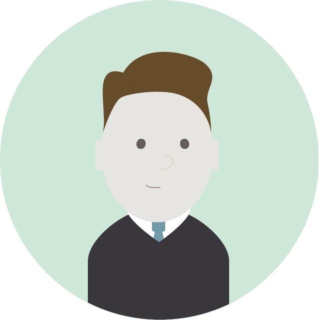 Illustrasjon: mann med mørk genser, slips og brunt hår