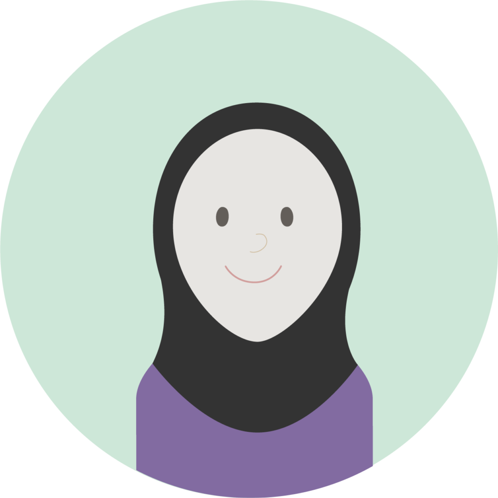 Illustrasjon: dame med lilla overdel og sort hijab