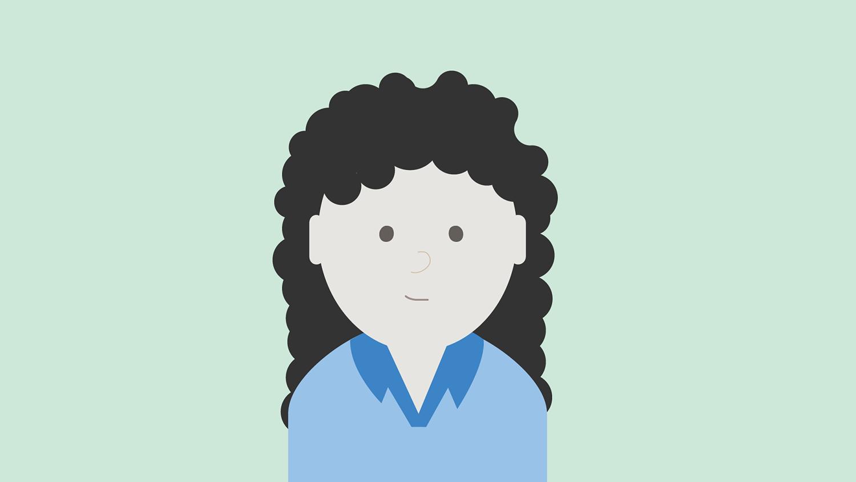 Illustrasjon: dame med lys blå skjorte og mørkt krøllete hår