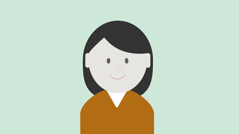 Illustrasjon: dame med brun genser og mørk hår