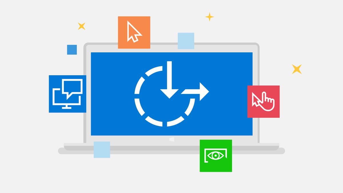Illustrasjon av en pc med symbolet for tilgjengelighetsfunksjoner i Windows © microsoft.com