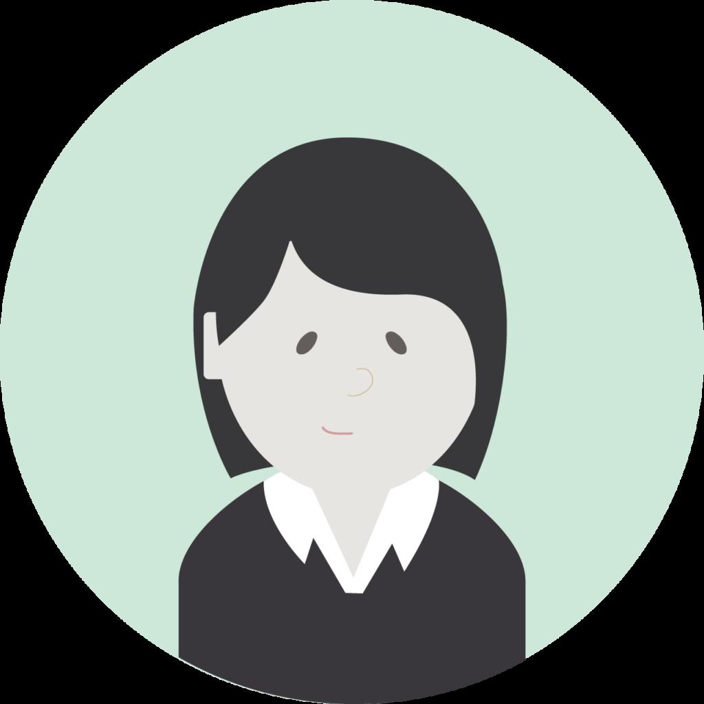 Illustrasjon: dame med sort genser og mørkt hår