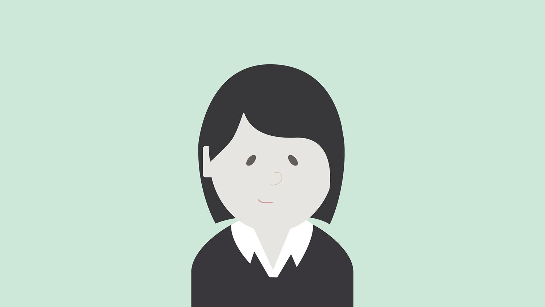 Illustrasjon: kvinne med sort genser og mørkt hår