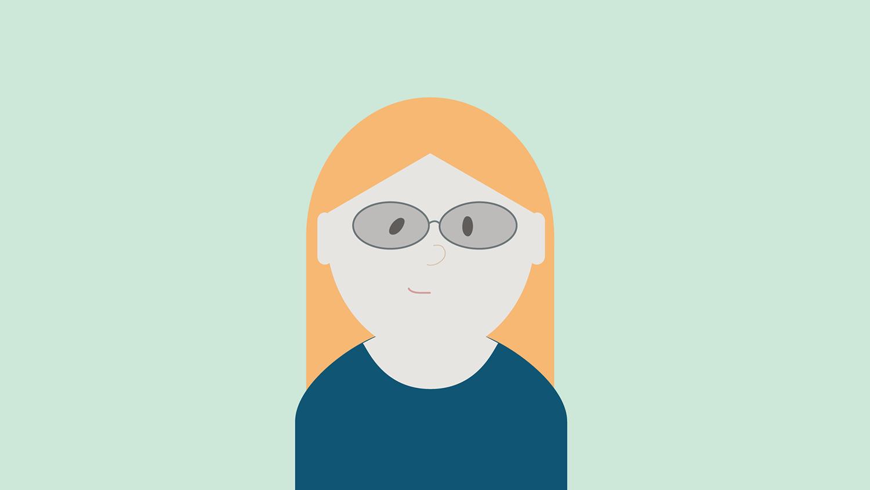 Illustrasjon: dame med blå genser, lyst hår og briller