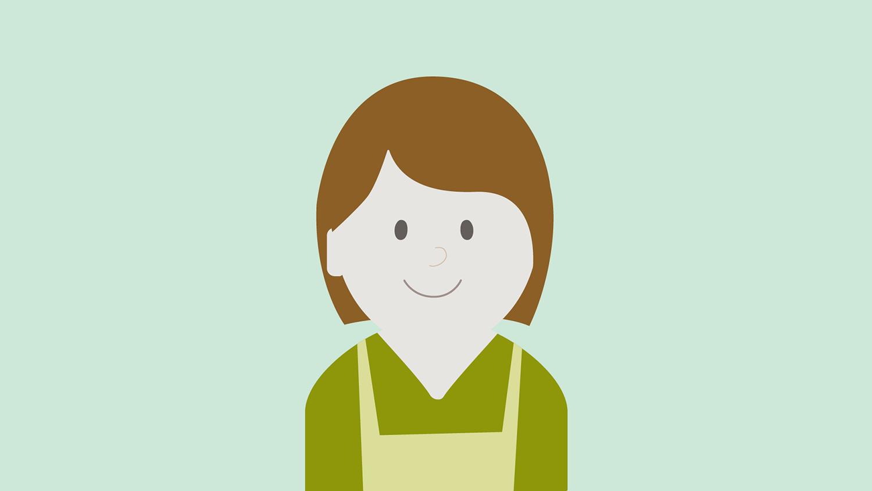 Illustrasjon: dame med grønn genser og brunt hår