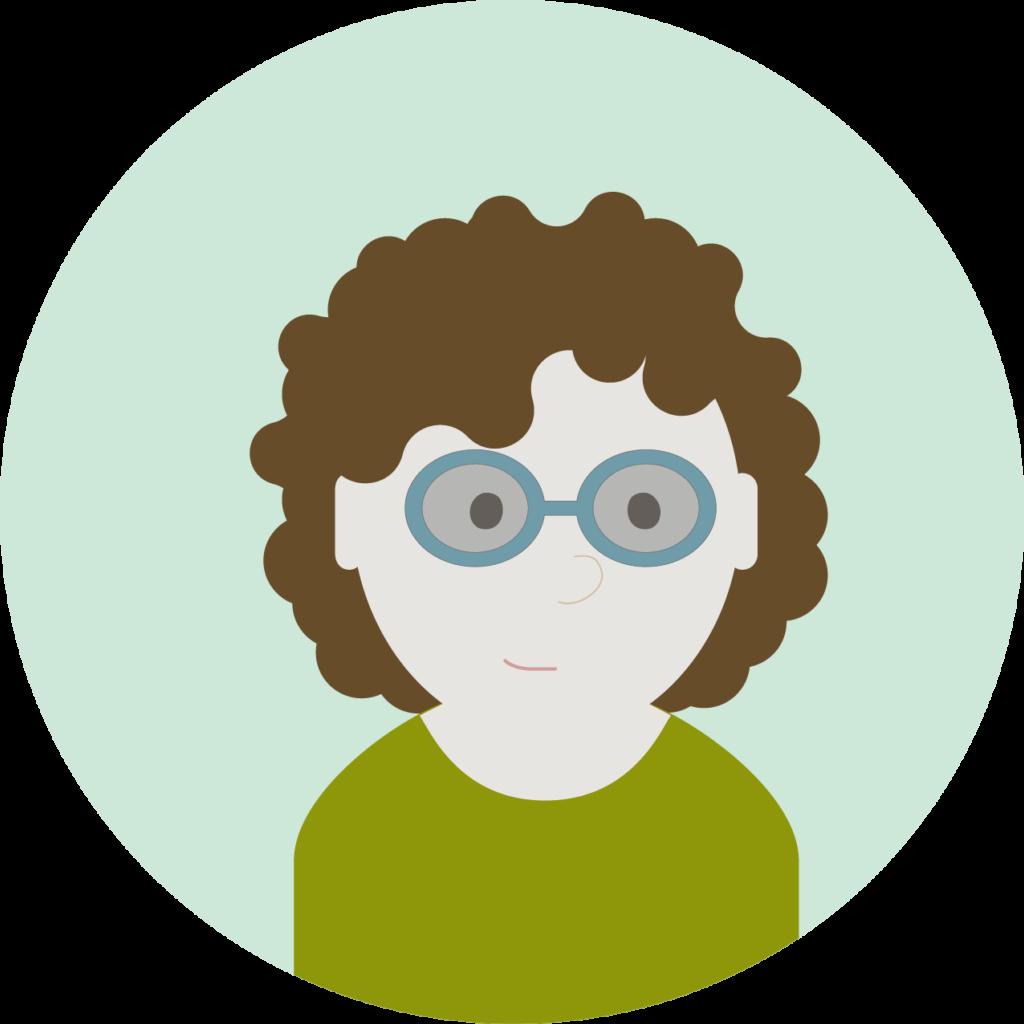 Illustrasjon: dame med grønn genser, brunt hår og briller