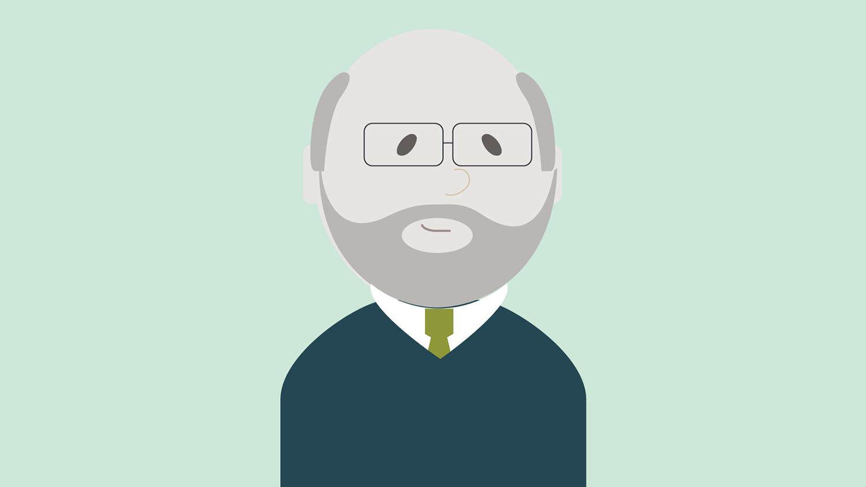 Illustrasjon: eldre mann med lite hår og briller
