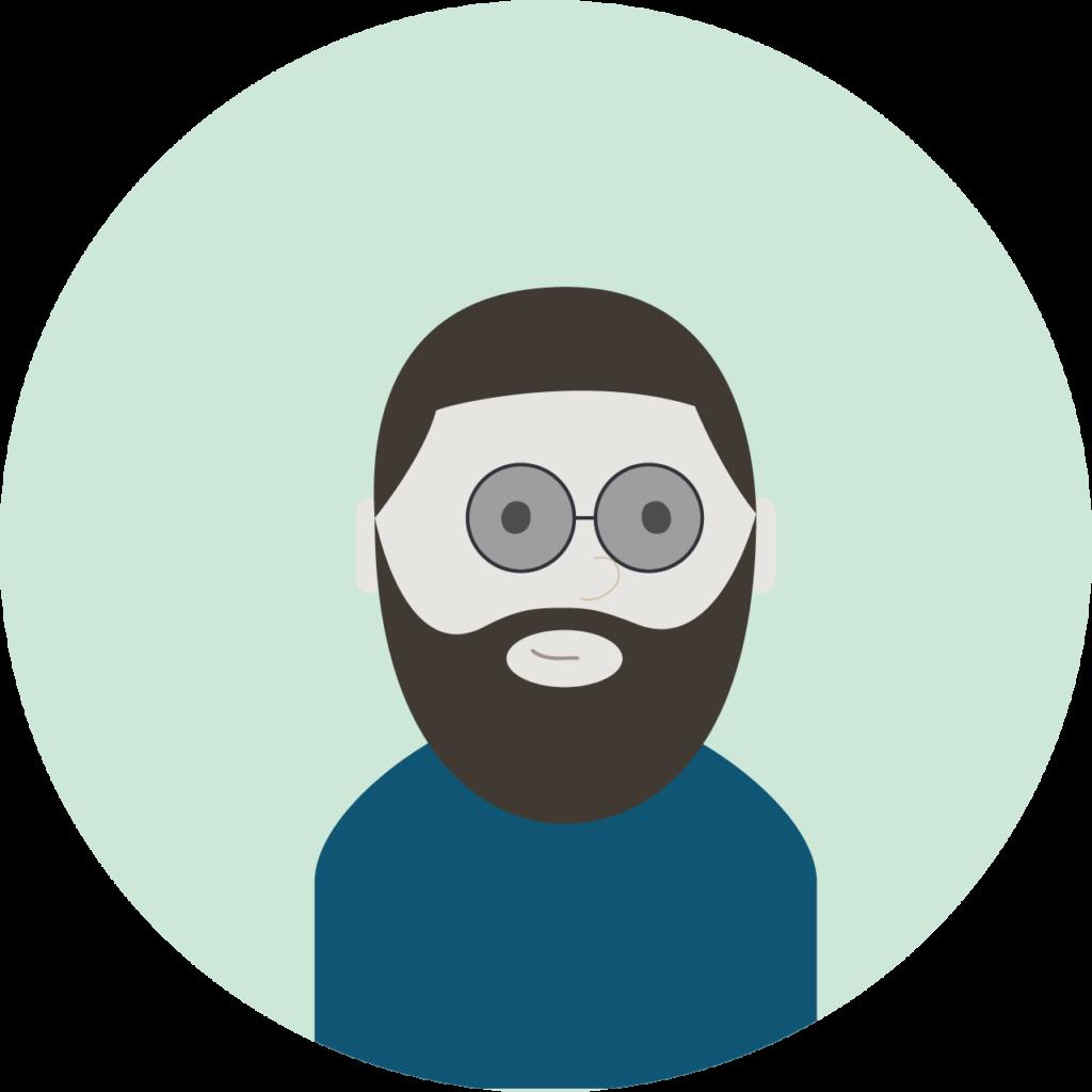 Illustrasjon: mann med skjegg og briller
