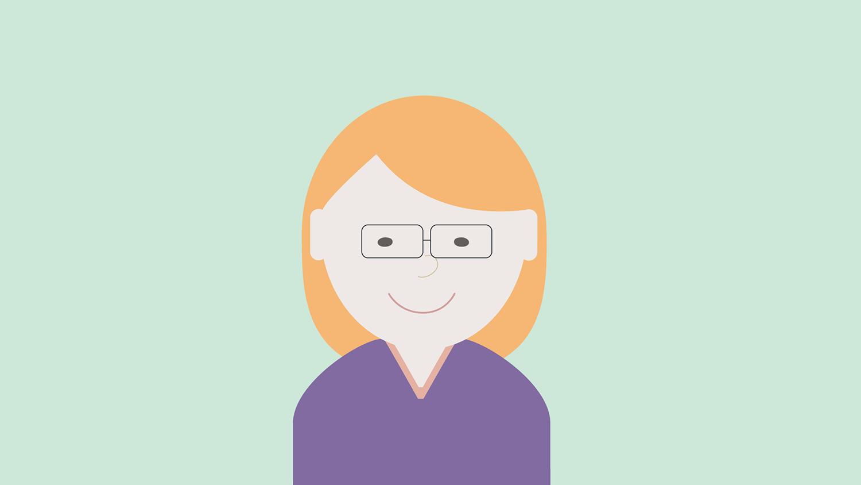 Illustrasjon: dame med lilla genser, lyst hår og briller