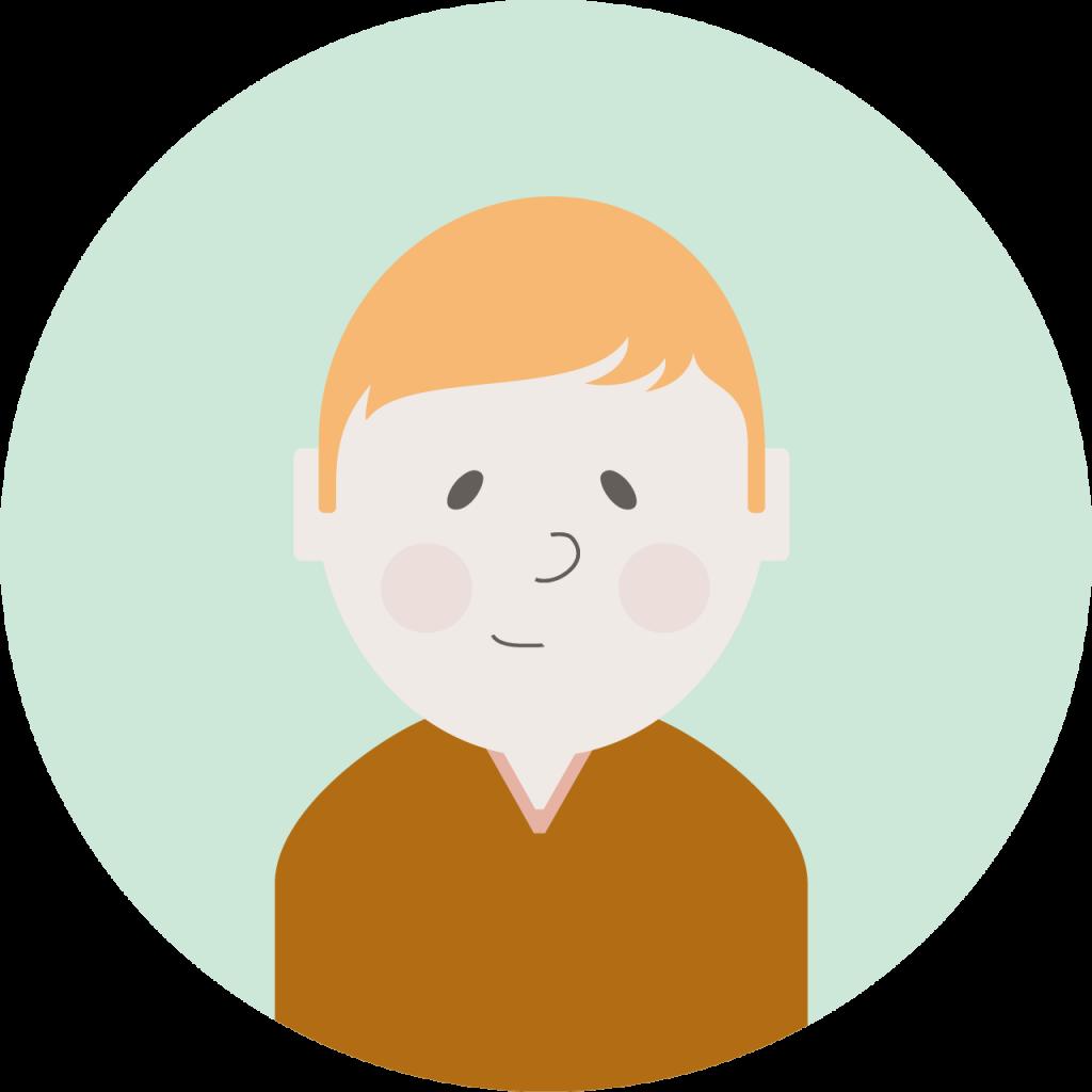 Illustrasjon: mann med brun genser og blondt hår