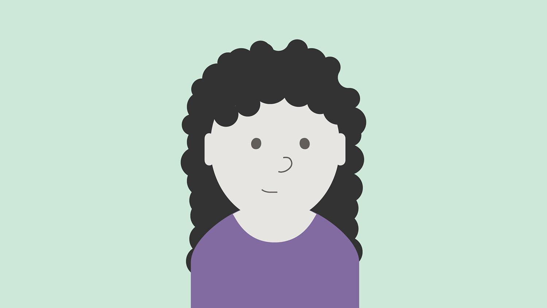 Illustrasjon: dame med lilla genser og langt mørkt og krøllete hår