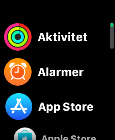 Skjermbilde av listevisning på Apple Watch