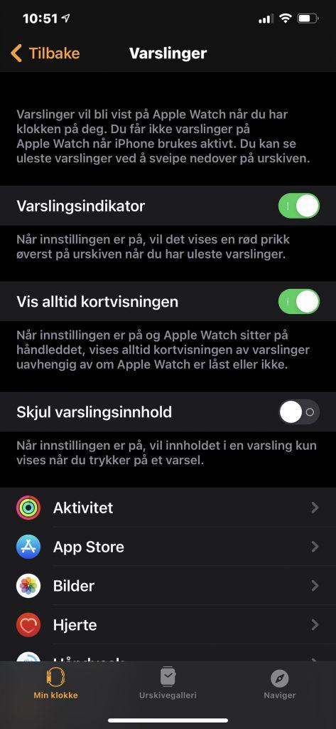 Skjermbilde fra iPhone på menyen varslinger til Apple Watch