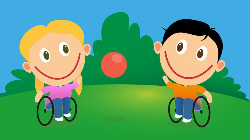 To barn i rullestol som leker med en ball (illustrasjon: colourbox.com)