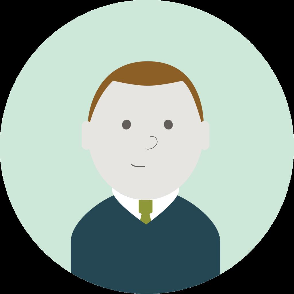 Illustrasjon: mann med kort, brunt hår og blå genser