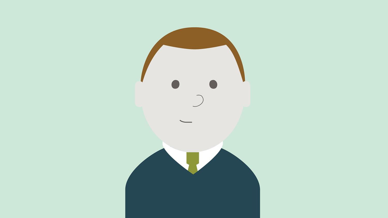 Illustrasjon: mann med kort brunt hår og blå genser